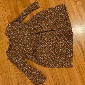 4T long sleeve brown dress with flowers